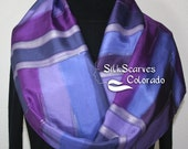 Purple Hand Painted Silk Scarf. Purple & Lavender Handmade Scarf PURPLE VISION. Size 11x60. Silk Scarves Colorado. Hand Dyed Scarf 100% silk