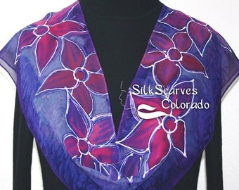 Hand Painted Silk Scarf. Purple, Lavender, Pink Chiffon Silk Scarf, PURPLE MUSE, by Silk Scarves Colorado. In 2 SIZES.Hand Dyed Scarf.