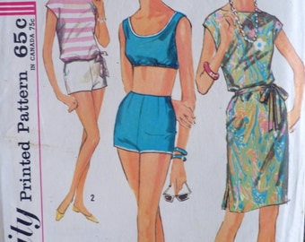 60s Beachdress Overblouse Bra Top Shorts Pattern Bust 32 Simplicity 4995 Size 12