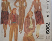 Lined Jacket, Skirt and Pants - 1980's Sewing Pattern - McCall's 7303 - Size 12, Bust 34