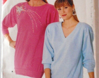 Women's 80's Sewing Pattern - Pullover Top - Butterick See & Sew 5706 - Sizes L - XL, Bust 38 - 44, Uncut