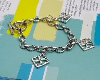 Heart Bracelet on Silver Link Chain, Toggle Clasp with Swarovski Elements, Gifts for Her, Gifts Under 30