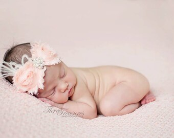Blush vintage  peachy pink shabby chiffon headband-feathers-lace headband,shabby headband,any size, newborn,baby flower girl,photo prop