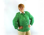 Vintage Green and White Stripe Blouse Womens Plus Size 20  1980s