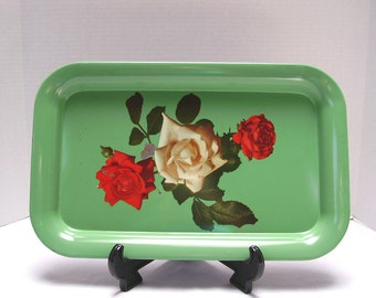 Metal Serving Tray - Roses - 1960s - Chippy