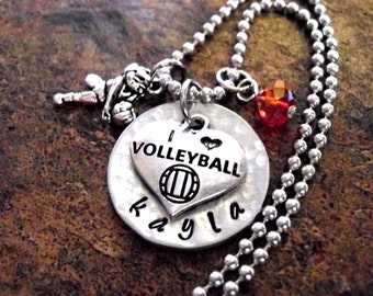 Super Sale Now Volleyball Jewelry, Volleyball Necklace, Personalized Jewelry, Sports Jewelry, Hand Stamped Jewelry