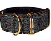 Martingale Collar: Blue Espresso Jacquard - 2 Inch, Greyhound Collar, Martingale Collar, Martingale Dog Collar, Custom Dog Collar
