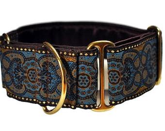 Martingale Collar or Buckle Dog Collar - Marseilles Jacquard in Blue Espresso - 2 Inch, Greyhound Collar, Great Dane Collar, Custom Collar
