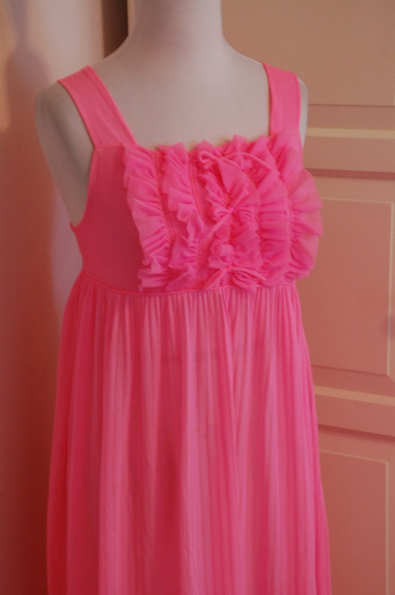 60s Hot Pink Chiffon Nightgown Lingerie Sleepware Negligee