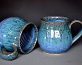 Sky Blue Mug Ceramic Coffee Cup Round