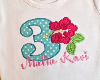 Luau  Birthday Embroidered  Shirt or Onesie with Name and Number