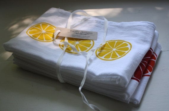 Fruit Slices screen printed kitchen towel set of three in orange, lemon and grapefruit(or any 3 images)