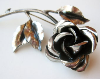 Vintage 40s Sterling Silver Every Rose Has It's Thorn Brooch Pin 19g