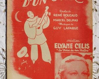 1940's French Song / Sheet Music - L'Inconnu D'Un Soir (The Evening Stranger)