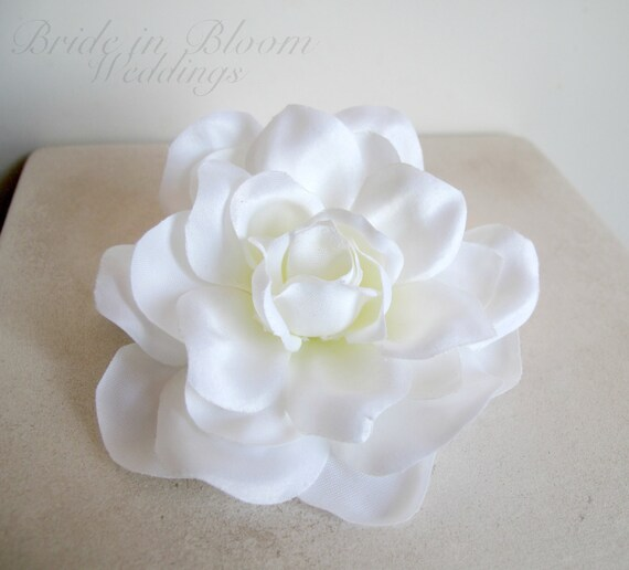Wedding hair accessories Bridal hair clip White gardenia orchid bobby pin bridesmaids flower girls