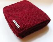 Scarf in Red Aran Tweed Wool