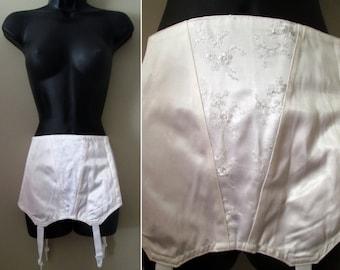 Vintage 50s Pinup Corset Garter Girdle Lingerie - Shiny Satin Plus Size Bombshell Boned Waist Shaper Glam Snow Winter White Wedding Bridal