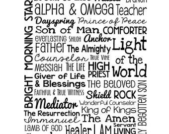 The Names of Jesus - Christian Wall Art - Black and White - Pastor, Sunday School, Bible, Church, God, Gifts