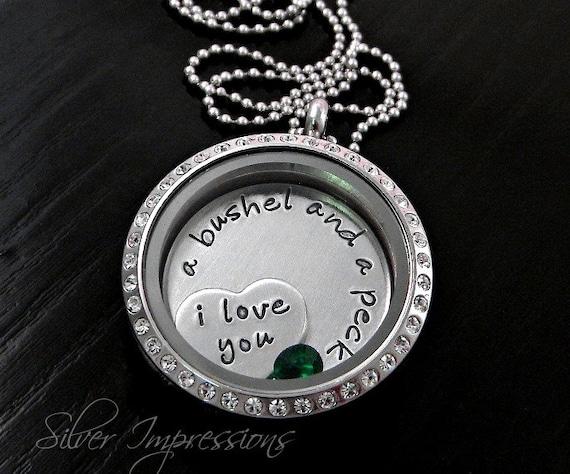 Love you a bushel and a peck floating locket charm locket