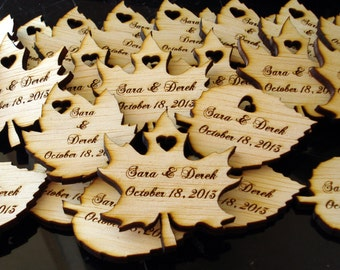 140 Wood Leaf Wedding Favors Personalized Wood Leaves