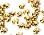 Gold Crimp Bead Covers, 5mm plated brass, knot covers, multiple packet sizes available   (957FD)