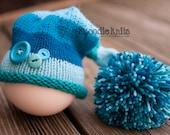Newborn Knitted Baby Hat, Newborn Hats for Boys, Elf Hat, Newborn Photo Props, Giant Pom Pom Striped Hat