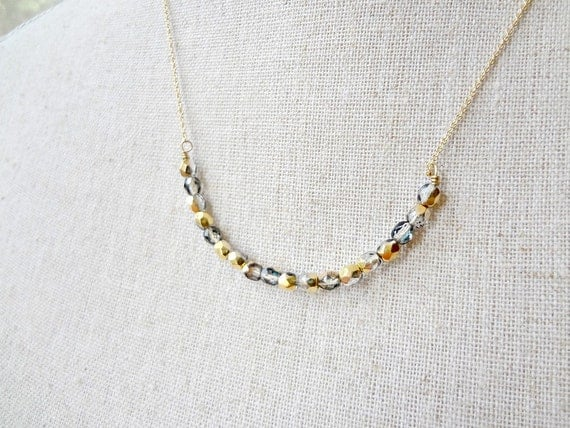 Gold Necklace Gray and Gold Iridescent Beaded Wire