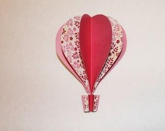 3d Hot Air Balloon -   pink, cranberry floral