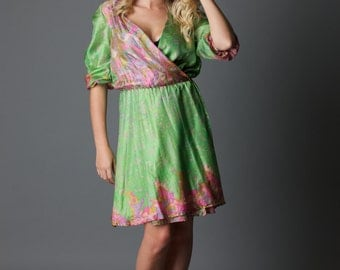 SALE! Lime Sorbet - green wrap around dress with buttons, bell sleeves and elastic (size 6, 8, 10) XS/S