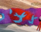 Hand felted bracelet violet turquoise red cuff  fiber Art