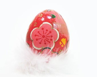 Easter Egg Japanese Washi - Watermelon Pink with Large Flowers