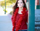 Ruffle Scarf Red Crimson Christmas Holiday Glitter Sparkle Knit Scarf