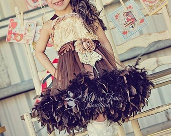 Chocolates and Champagne Girls Feather Dress