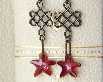 Crystal Starfish Earrings - Celtic Knot and Swarovski Crystal Earrings - Amber Red Glitter Earrings - Boho Earrings - Bohemian jewelry