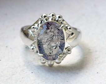 Exotic Strawberry Quartz Engagement Ring, Faceted Cut, White Large Gemstone, Sterling Silver Ring