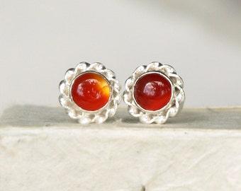 Carnelian Earrings, Orange Flower Earrings, Sterling Silver