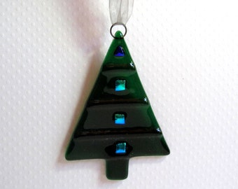 Forest Green Christmas Tree Ornament - Green Fused Glass Christmas Tree with Dichroic Accents - Fused Glass Christmas Decoration