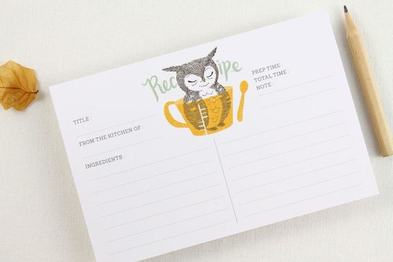 15 Recipe Cards - Owl & Measuring Cup