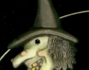 Porcelain Halloween Witch on a Neckwire