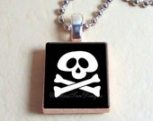 "Scrabble Jewelry, Skull and Cross Bones, Necklace, Pendant, 24"" chain included"