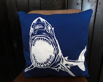 Screen Printed Shark Pillow Cover 16x16""