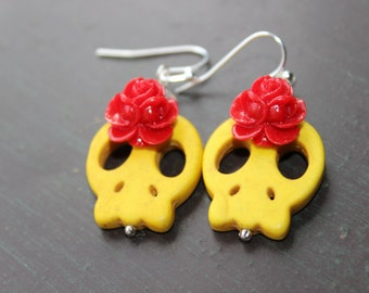 Day of the Dead Yellow Sugar Sugar Skull Earrings
