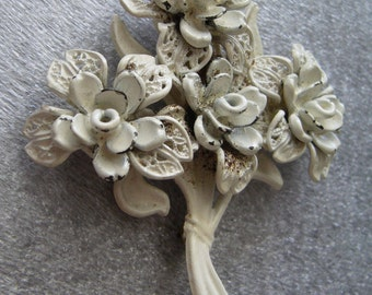Vintage carved celluloid filigree flower pin brooch