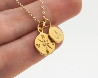 Gold Compass Initial Necklace - Personalized Jewelry . Holiday Gifts for Her. Customize with Fonts and Add Ons
