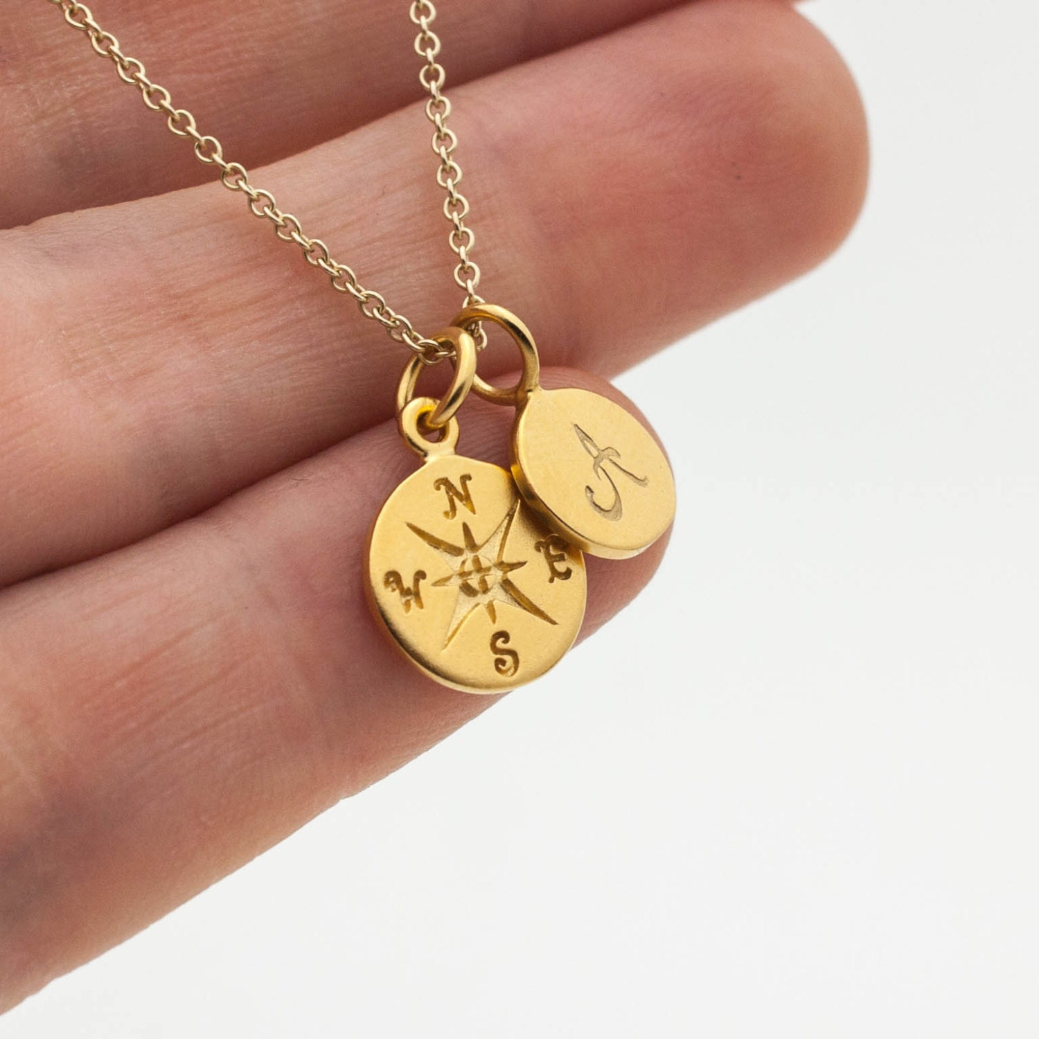 gold compass initial necklace personalized jewelry holiday. Black Bedroom Furniture Sets. Home Design Ideas