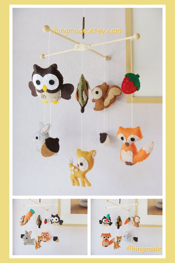 Baby Mobile Woodland Friends Mobile Ceiling Hanging By