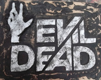 Evil dead wood wall art, custom wooden sign, Carved Evil Dead Logo wall decor, horror moive artwork MADE TO ORDER