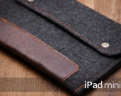 SPECIAL OFFER for iPad mini 1/2/3 case! Felt ipad mini case with leather. Dark felt iPad mini sleeve. iPad mini leather cover. Ipad air case
