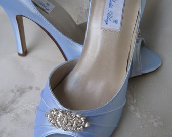 Blue Wedding Shoes Blue Bridal Shoes with Diamond Shape Crystal Brooch - Over 100 Color Shoe Choices to Pick From