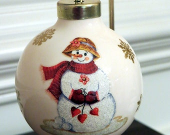 Snow Girl Ornament With Snowflakes and Hearts, Porcelain Ball